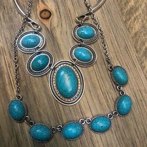 Paparazzi Turquoise Necklace Earrings Set
